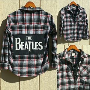 The Beatles Logo Plaid Flannel Pullover